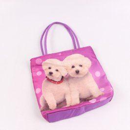 Dětská kabelka odstín fialové s pejsky