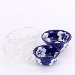 Skleněné misky odstín modré a čiré