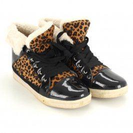 Dámské kotníkové boty černé a tygrované