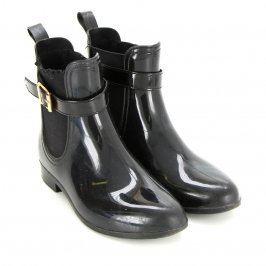 Dámská kotníčková obuv lesklá odstín černé