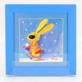 Obrázek zajíčka v modrém rámu