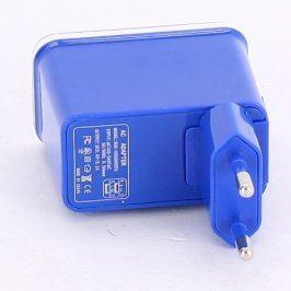 Nabíječka 2 x USB 5 V / 2,1 A modrá