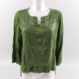 Dámská zelená halenka s dlouhým rukávem