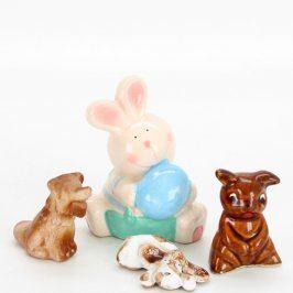 Keramické figurky králík a pejsci 4 ks