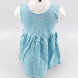 Dětské šaty odstín modré s kytičkami