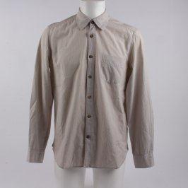 Pánská košile H&M béžová s tenkými pruhy