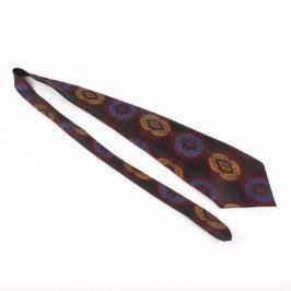Pánská kravata Hedva hnědá s barevnými vzory