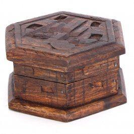 Dřevěná vyřezávaná šperkovnice šestihranná