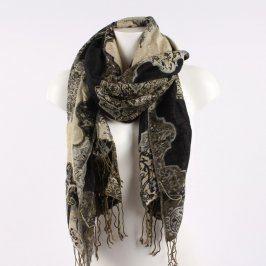 Dámský šál černobéžový se vzory a třásněmi