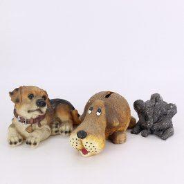 Keramické figurky ve tvaru psů a slonů 3 ks