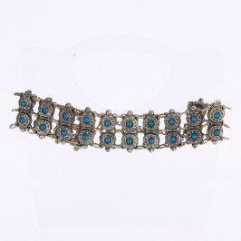 Dámský náramek kovový s modrými kamínky