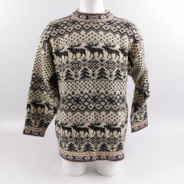Pánský svetr béžový s vánočními motivy