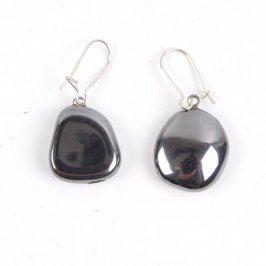 Visací náušnice s černými kamínky