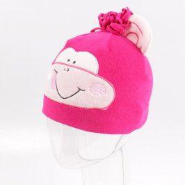 Dětská čepice růžová s opicí