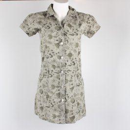 Dívčí šaty odstín khaki s květinami