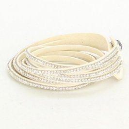 Dámský náhrdelník obojek bílý čtyřřadý