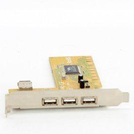 Řadič 3x externí USB, 1x interní USB PCI