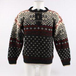 Pánský svetr CBC hnědý se vzory vlněný