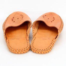 Dámské pantofle kožené béžové