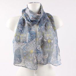 Dámský šátek šedo-modro-žluté barvy