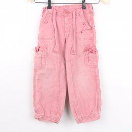 Dívčí plátěné kalhoty H&M růžové barvy