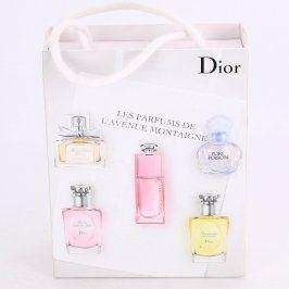 Krabička Dior bílá s obrázky parfémů