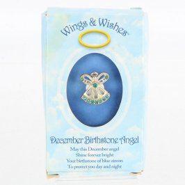 Brož Wings&Wishes Anděl s modrými zirkony