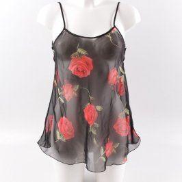 Dámská průsvitná košilka černá s růžemi