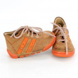 Dětské kotníkové boty hnědo oranžové