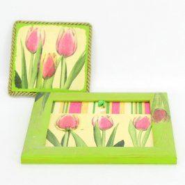 Obrázky tulipánů v zelených rámečkách