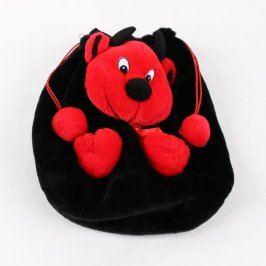 Dětský batoh plyšový černý s motivem čerta