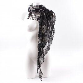 Dámský šátek černý s výšivkou