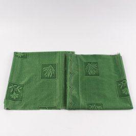 Záclony zelené s motivy květin