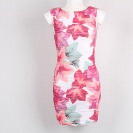 Dámské šaty Amisu bílo růžové květované