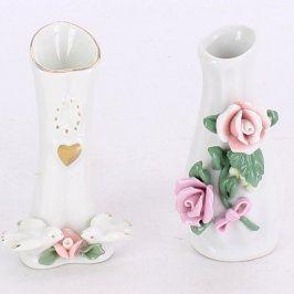Porcelánové vázy s květinovou ozdobou 2 ks