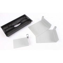 Poličky kovové + plastový nosič na nářadí