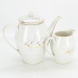 Porcelánová konvička a mléčenka