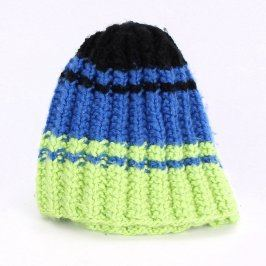 Čepice vlněná trojbarevná černo-modro-žlutá