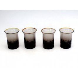 Sada pozlacených sklenic z barevného skla