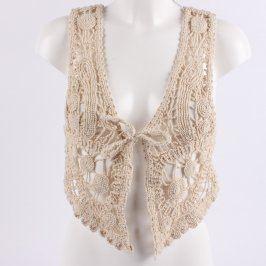 Dámská háčkovaná vesta béžová