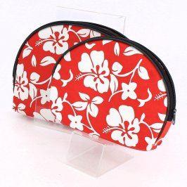 Kosmetické taštičky červenobílé barvy