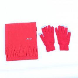 Čepice a rukavice červené s nápisem Wobenzyn