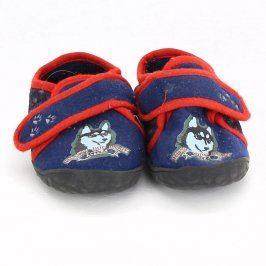 Dětské bačkory modré s pejsky