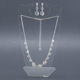 Set náhrdelníku a náušnic s čirými kamínky