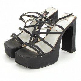 Dámské páskové pantofle na vysokém podpatku