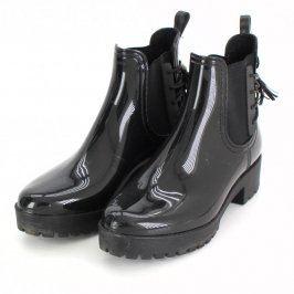 Dámské kotníkové boty černé lesklé