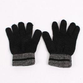 Prstové rukavice černé s šedými lemy