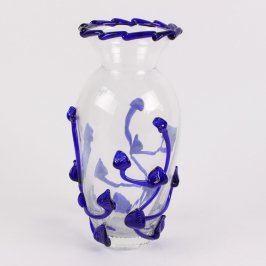 Skleněná váza Egermann s fialovým zdobením