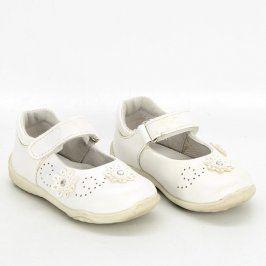 Dívčí boty bílé barvy s kytičkami