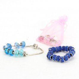Dámské modré náramky + korálky